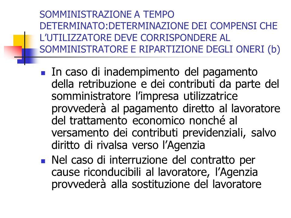 SOMMINISTRAZIONE A TEMPO DETERMINATO:DETERMINAZIONE DEI COMPENSI CHE L'UTILIZZATORE DEVE CORRISPONDERE AL SOMMINISTRATORE E RIPARTIZIONE DEGLI ONERI (