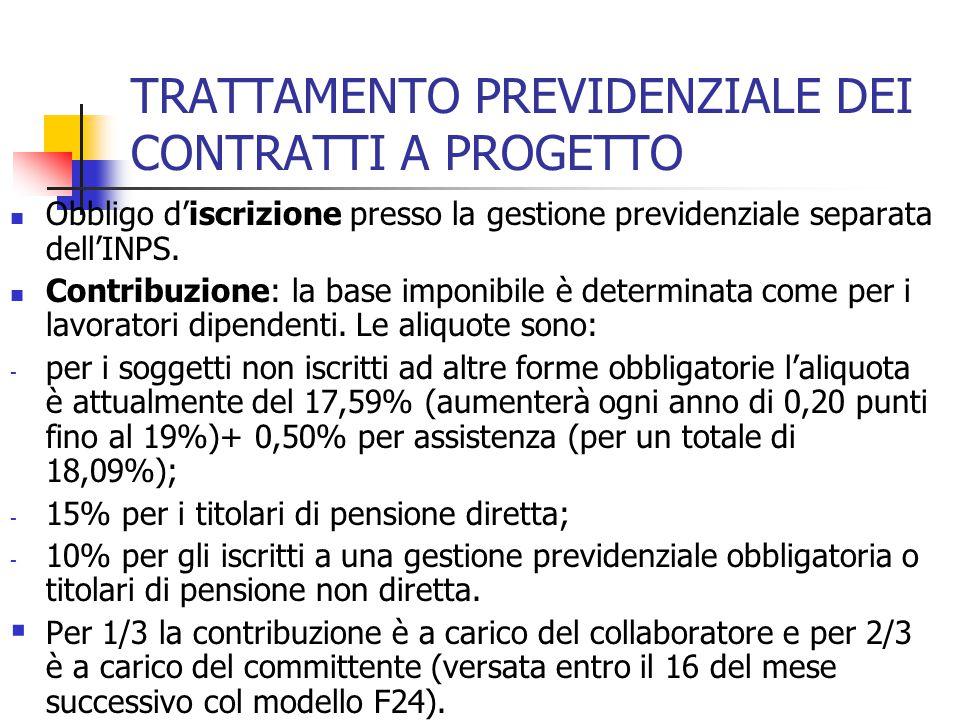 TRATTAMENTO PREVIDENZIALE DEI CONTRATTI A PROGETTO Obbligo d'iscrizione presso la gestione previdenziale separata dell'INPS. Contribuzione: la base im