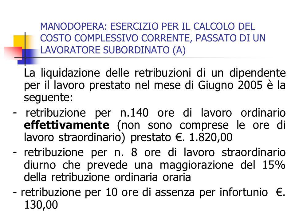 MANODOPERA: ESERCIZIO PER IL CALCOLO DEL COSTO COMPLESSIVO CORRENTE, PASSATO DI UN LAVORATORE SUBORDINATO (A) La liquidazione delle retribuzioni di un