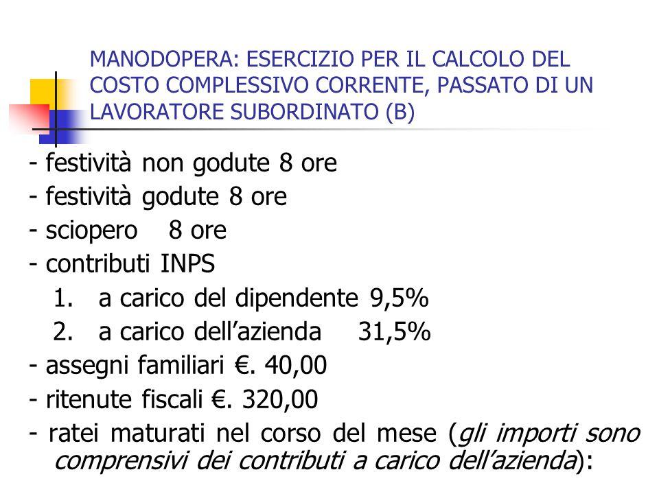 MANODOPERA: ESERCIZIO PER IL CALCOLO DEL COSTO COMPLESSIVO CORRENTE, PASSATO DI UN LAVORATORE SUBORDINATO (C) a) 13esima mensilità €.