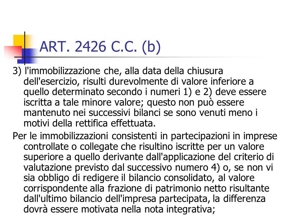 ART. 2426 C.C. (b) 3) l'immobilizzazione che, alla data della chiusura dell'esercizio, risulti durevolmente di valore inferiore a quello determinato s