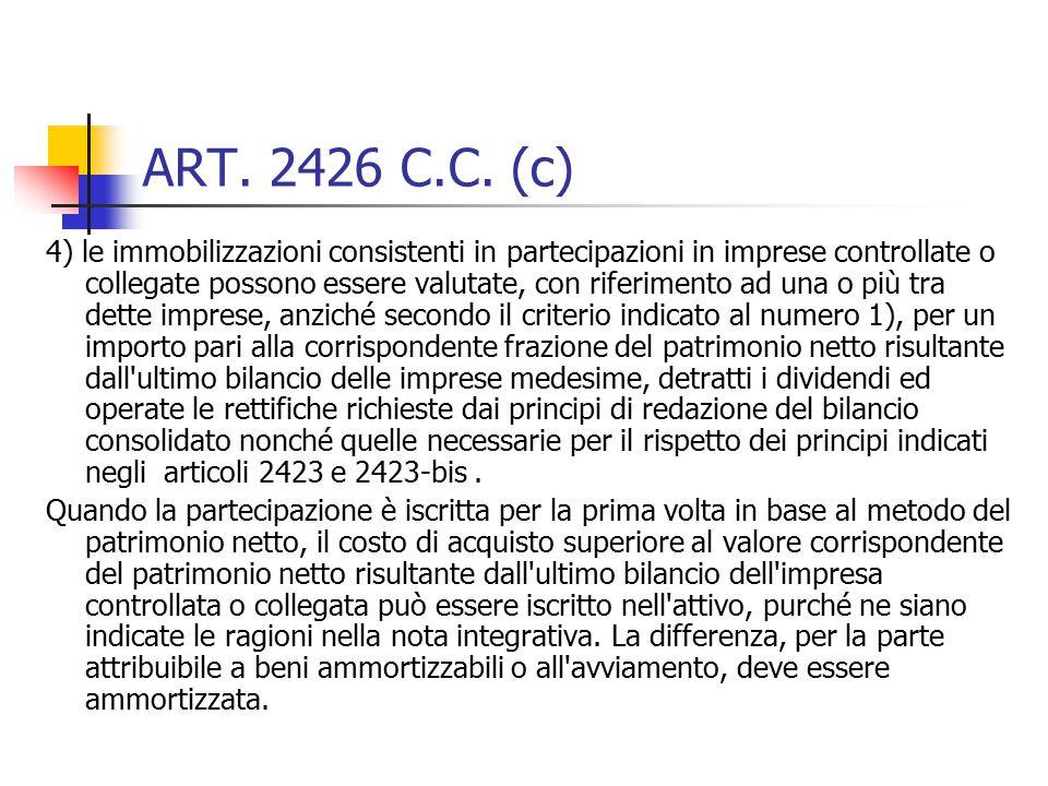 ART. 2426 C.C. (c) 4) le immobilizzazioni consistenti in partecipazioni in imprese controllate o collegate possono essere valutate, con riferimento ad