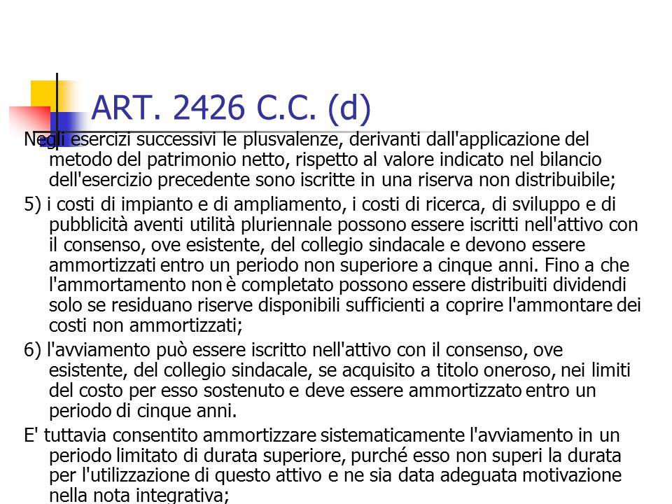 ART. 2426 C.C. (d) Negli esercizi successivi le plusvalenze, derivanti dall'applicazione del metodo del patrimonio netto, rispetto al valore indicato