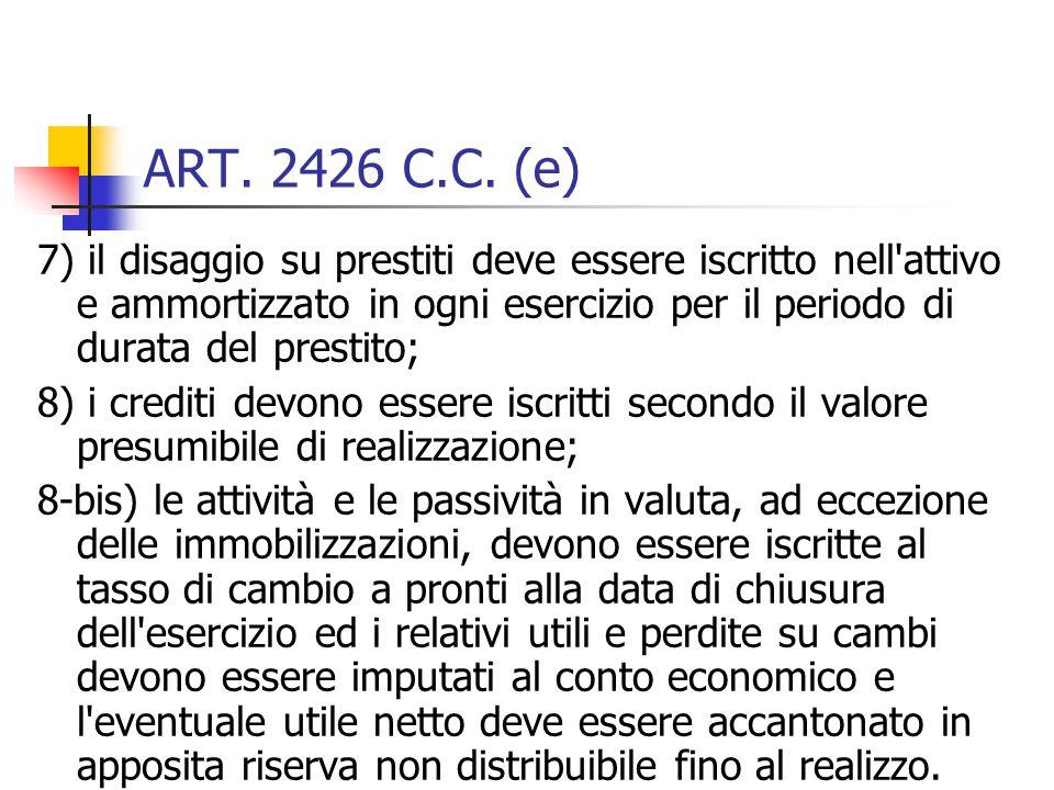 ART. 2426 C.C. (e) 7) il disaggio su prestiti deve essere iscritto nell'attivo e ammortizzato in ogni esercizio per il periodo di durata del prestito;