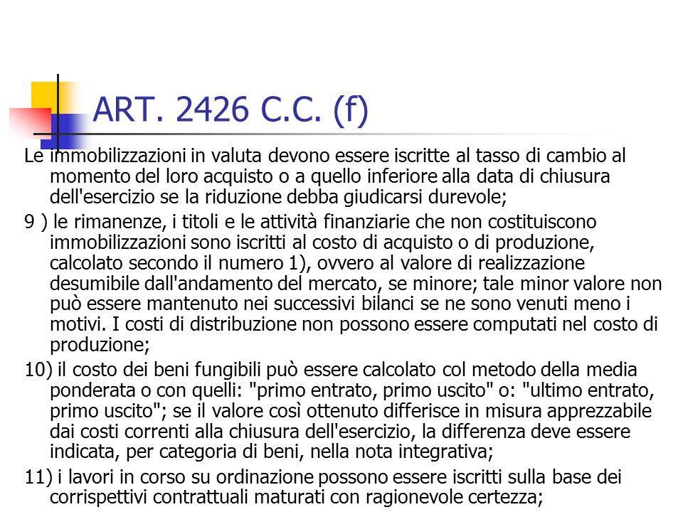 ART. 2426 C.C. (f) Le immobilizzazioni in valuta devono essere iscritte al tasso di cambio al momento del loro acquisto o a quello inferiore alla data