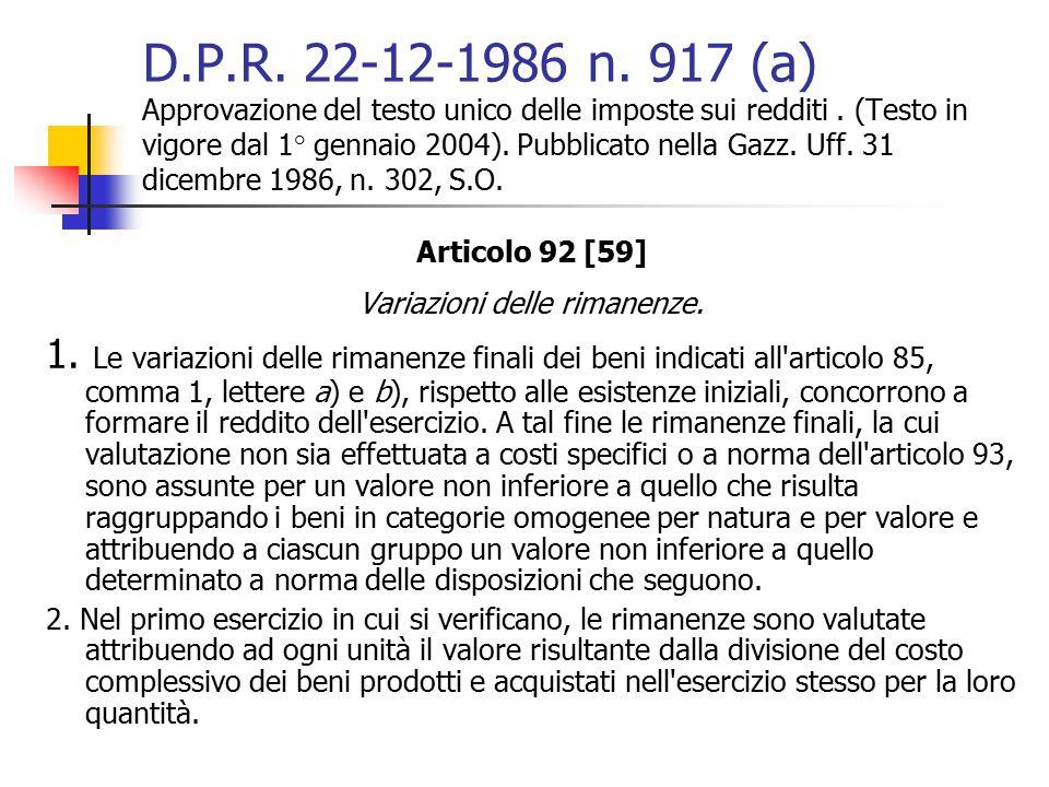 D.P.R. 22-12-1986 n. 917 (a) Approvazione del testo unico delle imposte sui redditi. (Testo in vigore dal 1° gennaio 2004). Pubblicato nella Gazz. Uff