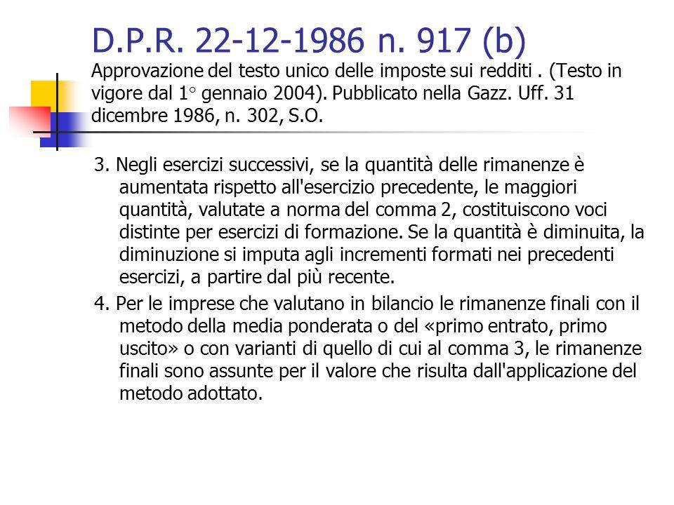 D.P.R. 22-12-1986 n. 917 (b) Approvazione del testo unico delle imposte sui redditi. (Testo in vigore dal 1° gennaio 2004). Pubblicato nella Gazz. Uff