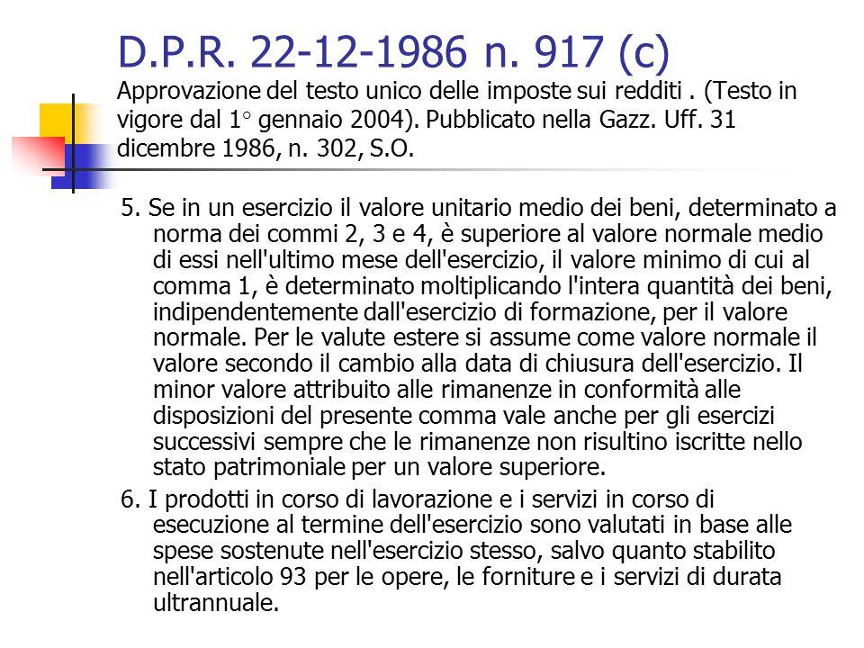 D.P.R. 22-12-1986 n. 917 (c) Approvazione del testo unico delle imposte sui redditi. (Testo in vigore dal 1° gennaio 2004). Pubblicato nella Gazz. Uff