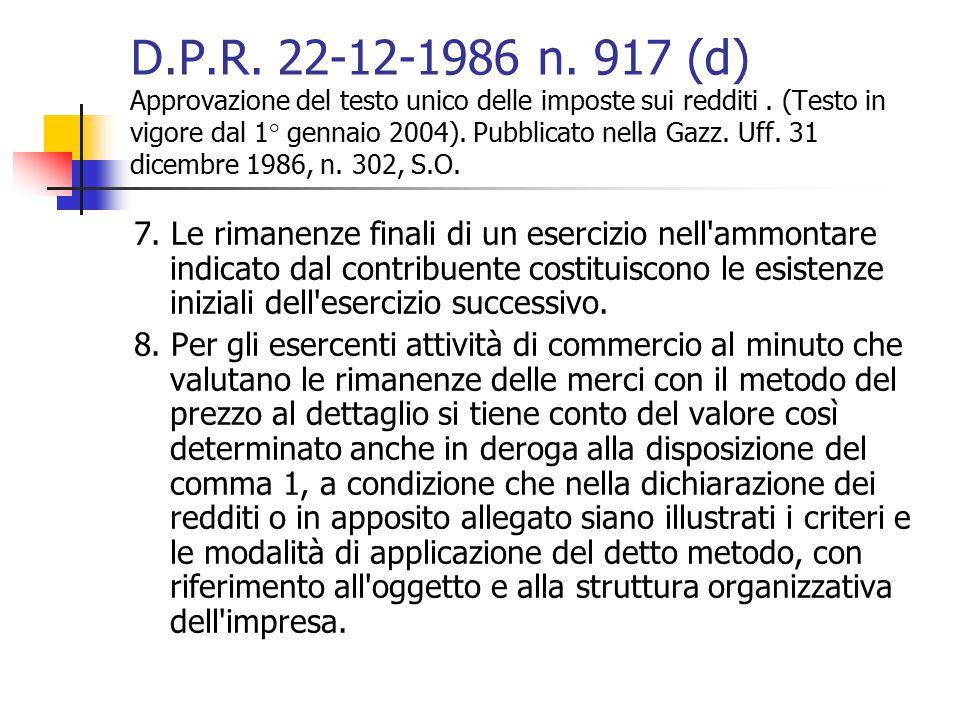 D.P.R. 22-12-1986 n. 917 (d) Approvazione del testo unico delle imposte sui redditi. (Testo in vigore dal 1° gennaio 2004). Pubblicato nella Gazz. Uff