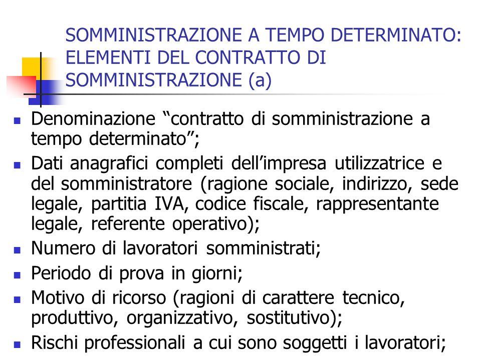 SOMMINISTRAZIONE A TEMPO DETERMINATO: ELEMENTI DEL CONTRATTO DI SOMMINISTRAZIONE (b) Numero di posizione assicurativa INAIL dell'utilizzatore; Voce tariffa INAIL e tasso; Data di stipulazione del contratto; Data di inizio della somministrazione; Data di fine della somministrazione; Orario che il lavoratore deve rispettare; Mansioni del lavoratore; Inquadramento del lavoratore secondo il CCNL lavoratori temporanei;
