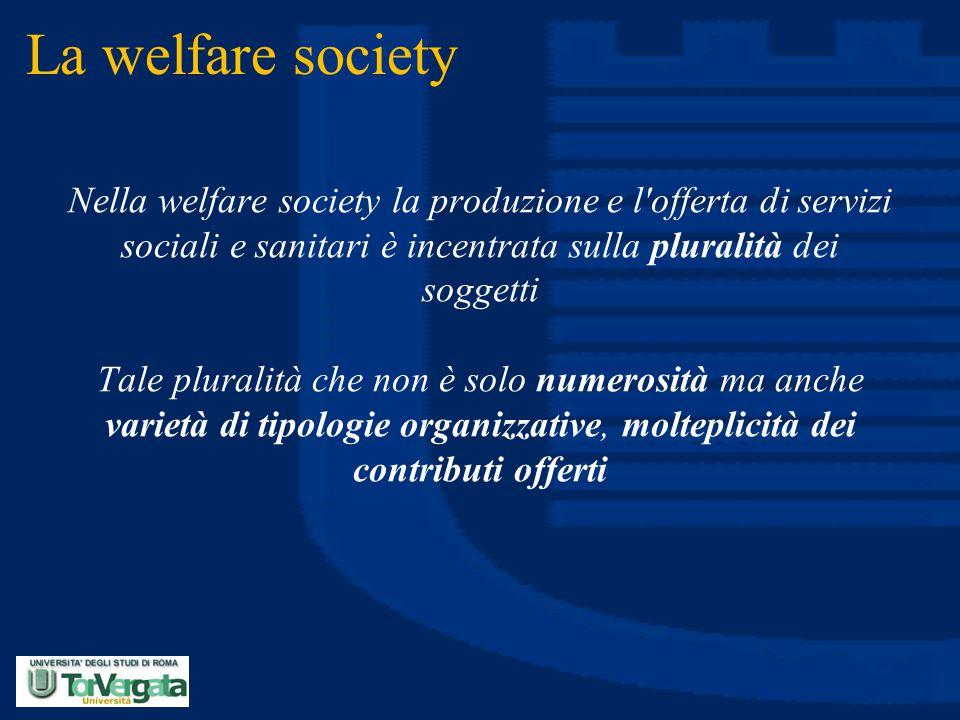 La welfare society Nella welfare society la produzione e l'offerta di servizi sociali e sanitari è incentrata sulla pluralità dei soggetti Tale plural