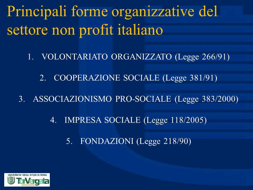 Principali forme organizzative del settore non profit italiano 1.VOLONTARIATO ORGANIZZATO (Legge 266/91) 2.COOPERAZIONE SOCIALE (Legge 381/91) 3.ASSOC