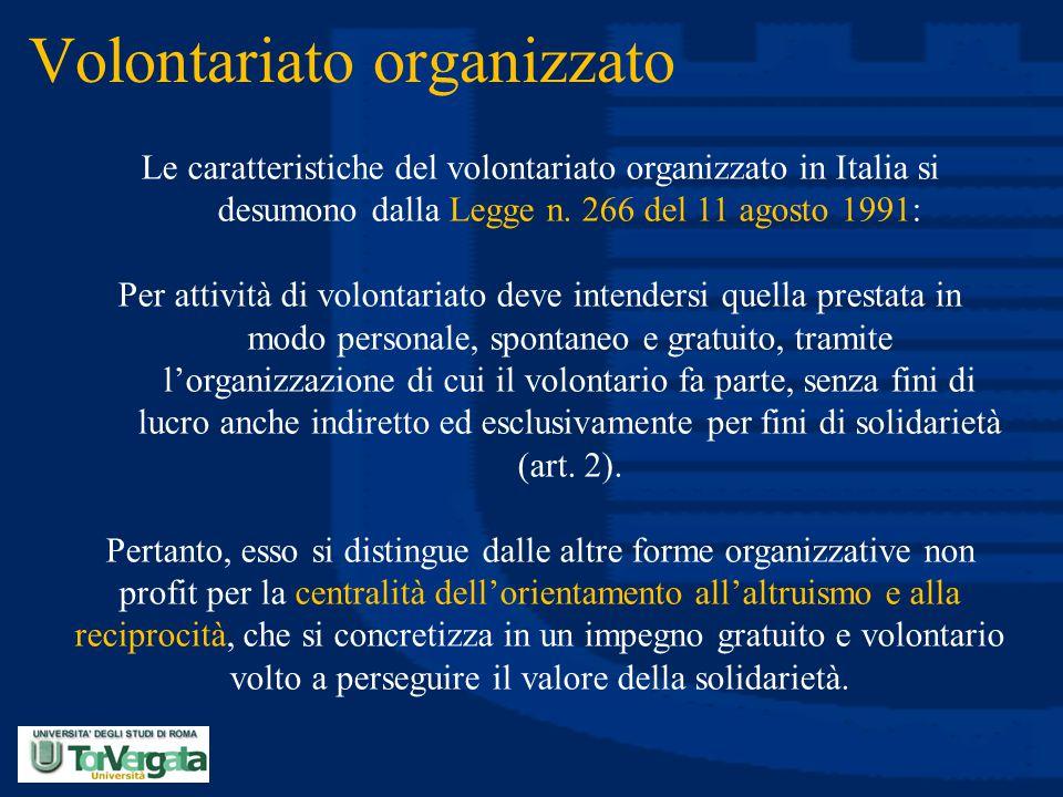 Volontariato organizzato Le caratteristiche del volontariato organizzato in Italia si desumono dalla Legge n. 266 del 11 agosto 1991: Per attività di