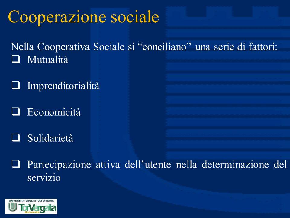 """Cooperazione sociale Nella Cooperativa Sociale si """"conciliano"""" una serie di fattori:  Mutualità  Imprenditorialità  Economicità  Solidarietà  Par"""