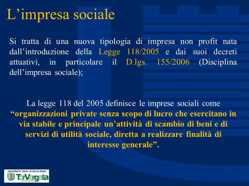 L'impresa sociale Si tratta di una nuova tipologia di impresa non profit nata dall'introduzione della Legge 118/2005 e dai suoi decreti attuativi, in