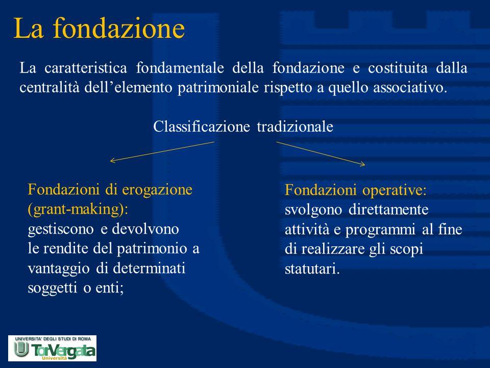 La fondazione La caratteristica fondamentale della fondazione e costituita dalla centralità dell'elemento patrimoniale rispetto a quello associativo.