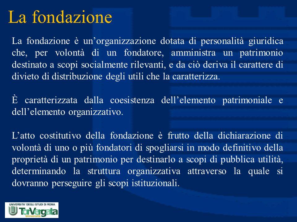 La fondazione La fondazione è un'organizzazione dotata di personalità giuridica che, per volontà di un fondatore, amministra un patrimonio destinato a
