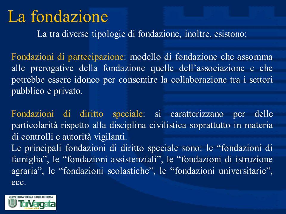 La fondazione La tra diverse tipologie di fondazione, inoltre, esistono: Fondazioni di partecipazione: modello di fondazione che assomma alle prerogat