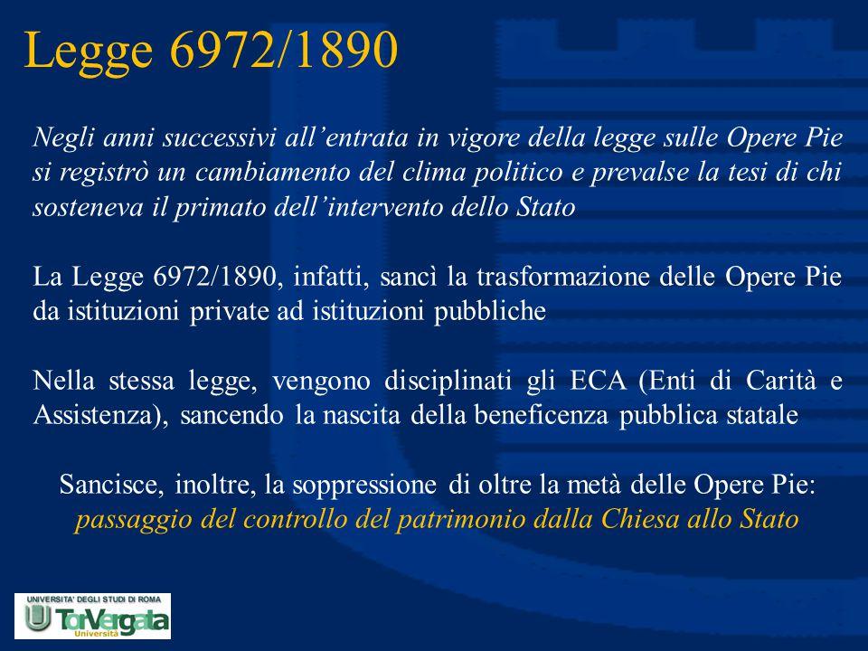Legge 6972/1890 Negli anni successivi all'entrata in vigore della legge sulle Opere Pie si registrò un cambiamento del clima politico e prevalse la te