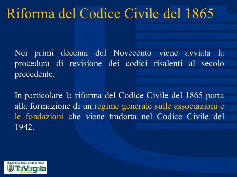 Riforma del Codice Civile del 1865 Nei primi decenni del Novecento viene avviata la procedura di revisione dei codici risalenti al secolo precedente.