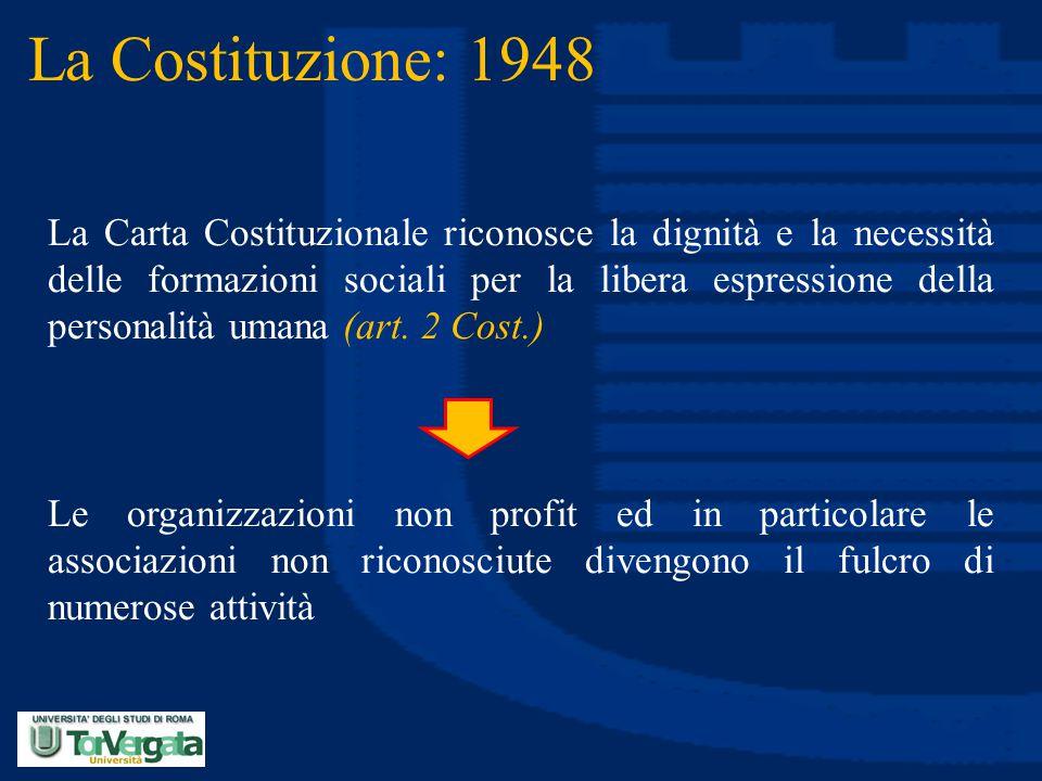 La Costituzione: 1948 La Carta Costituzionale riconosce la dignità e la necessità delle formazioni sociali per la libera espressione della personalità