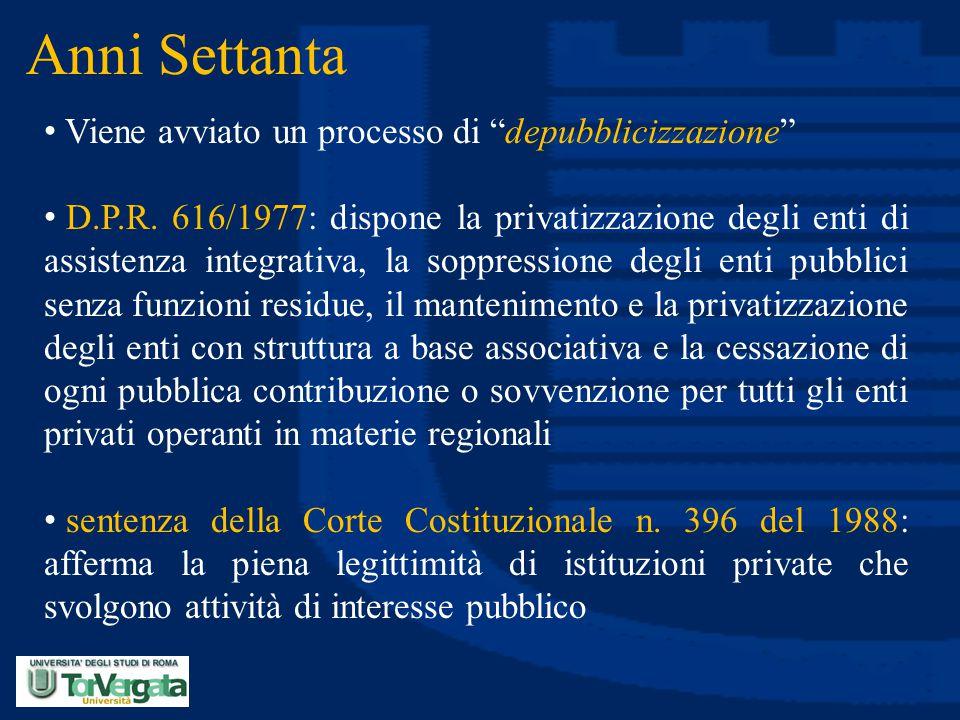 """Anni Settanta Viene avviato un processo di """"depubblicizzazione"""" D.P.R. 616/1977: dispone la privatizzazione degli enti di assistenza integrativa, la s"""