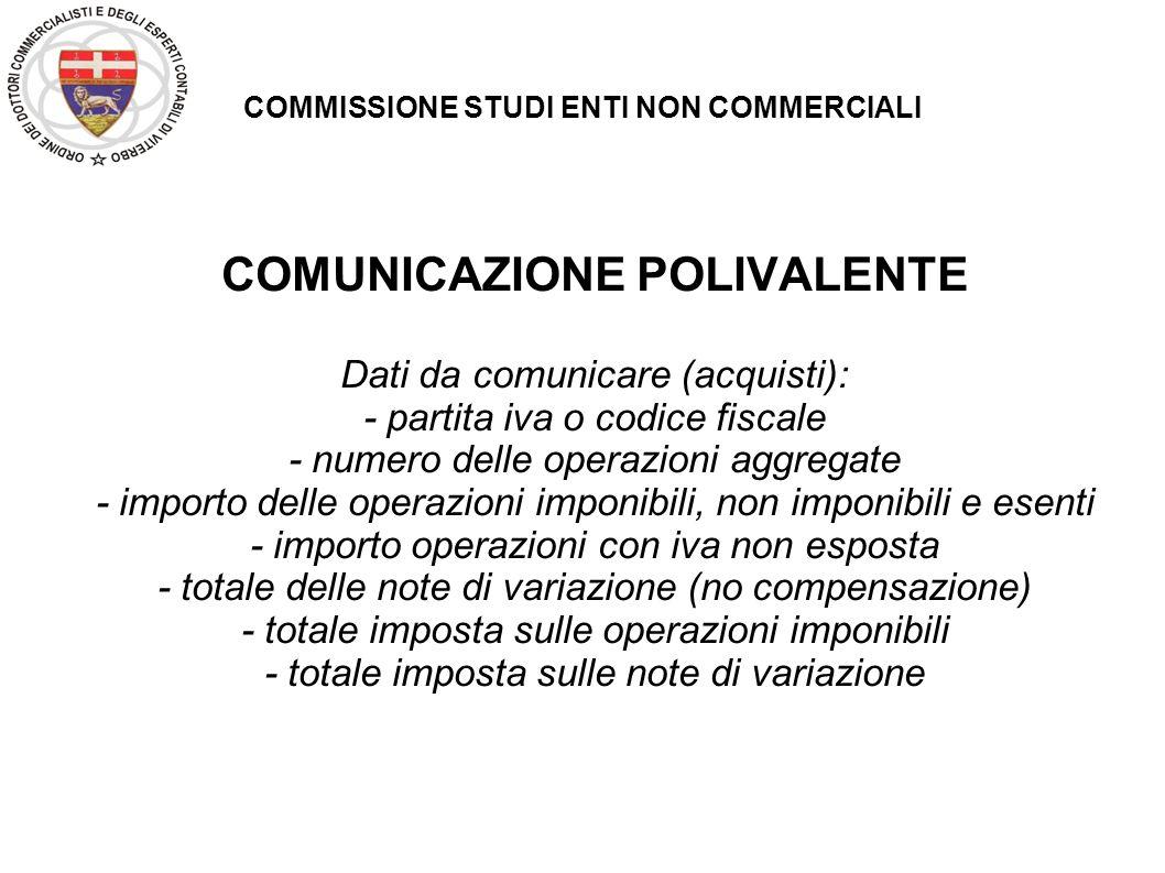 COMMISSIONE STUDI ENTI NON COMMERCIALI COMUNICAZIONE POLIVALENTE Dati da comunicare (acquisti): - partita iva o codice fiscale - numero delle operazio