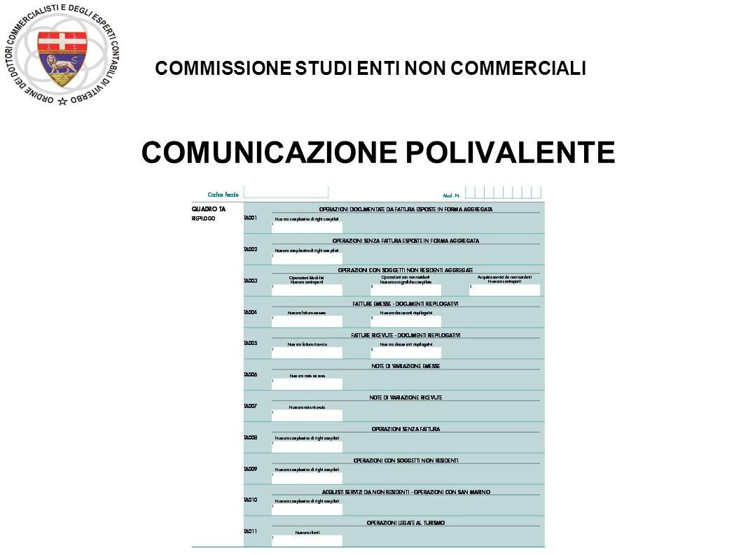 COMMISSIONE STUDI ENTI NON COMMERCIALI COMUNICAZIONE POLIVALENTE