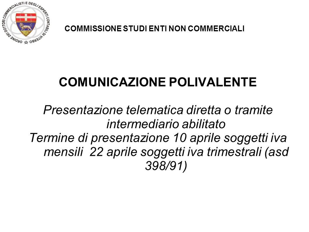 COMMISSIONE STUDI ENTI NON COMMERCIALI COMUNICAZIONE POLIVALENTE Obbligo di comunicazione delle operazioni rilevanti ai fini Iva limitatamente all attività commerciale.
