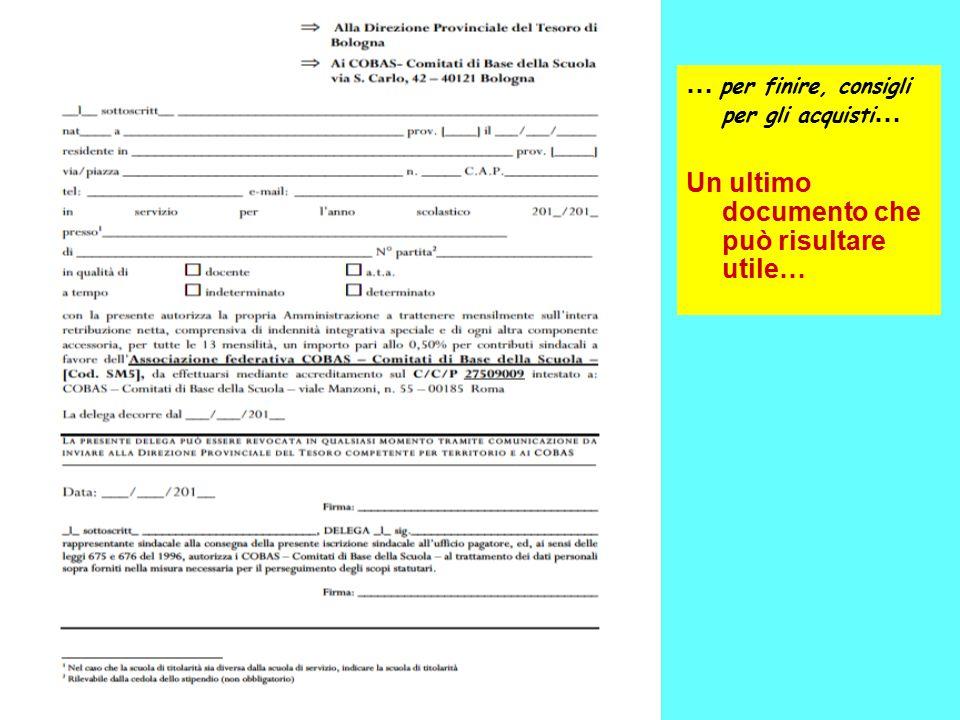 … per finire, consigli per gli acquisti … Un ultimo documento che può risultare utile…