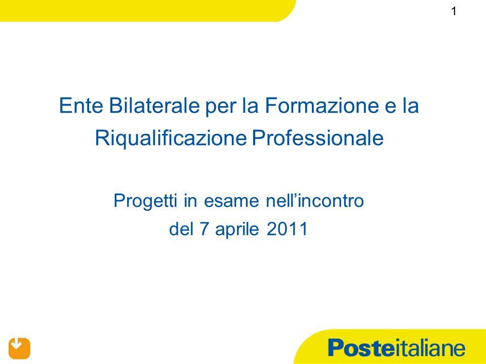 Ente Bilaterale per la Formazione e la Riqualificazione Professionale Progetti in esame nell'incontro del 7 aprile 2011 1
