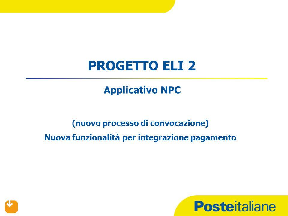 PROGETTO ELI 2 Applicativo NPC (nuovo processo di convocazione) Nuova funzionalità per integrazione pagamento