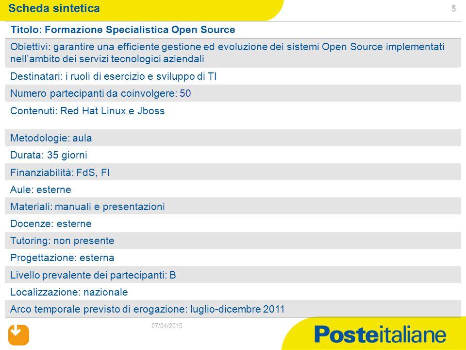 5 07/04/2015 Scheda sintetica Titolo: Formazione Specialistica Open Source Obiettivi: garantire una efficiente gestione ed evoluzione dei sistemi Open