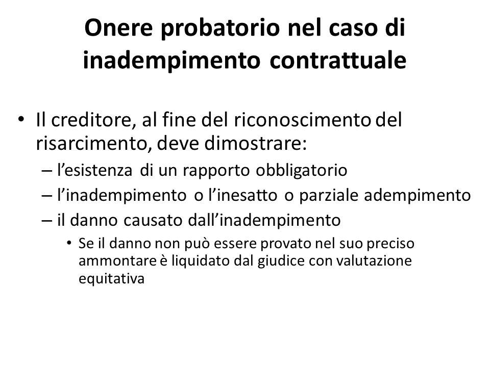 Onere probatorio nel caso di inadempimento contrattuale Il creditore, al fine del riconoscimento del risarcimento, deve dimostrare: – l'esistenza di u