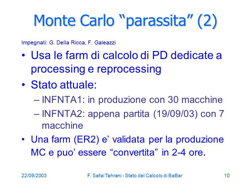 22/09/2003F. Safai Tehrani - Stato del Calcolo di BaBar10 Monte Carlo parassita (2) Impegnati: G.