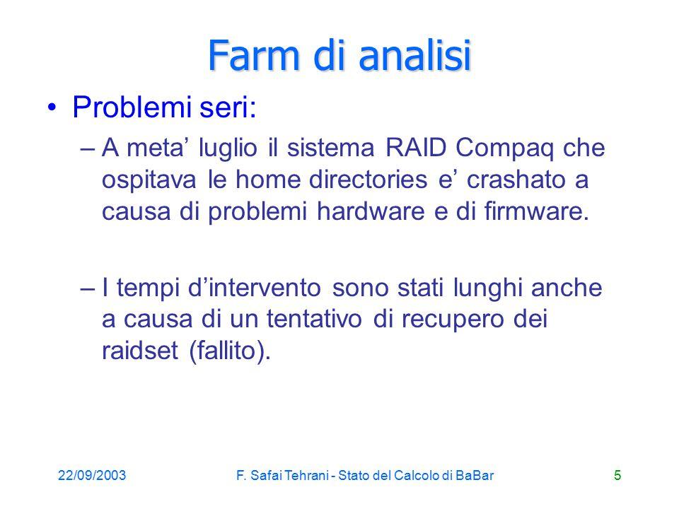 22/09/2003F. Safai Tehrani - Stato del Calcolo di BaBar6 Farm di analisi (2) crash