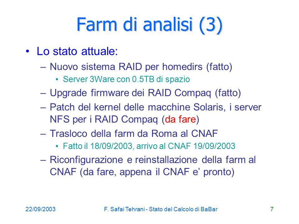 22/09/2003F.Safai Tehrani - Stato del Calcolo di BaBar8 Monte Carlo: farm di Roma Impegnati: C.