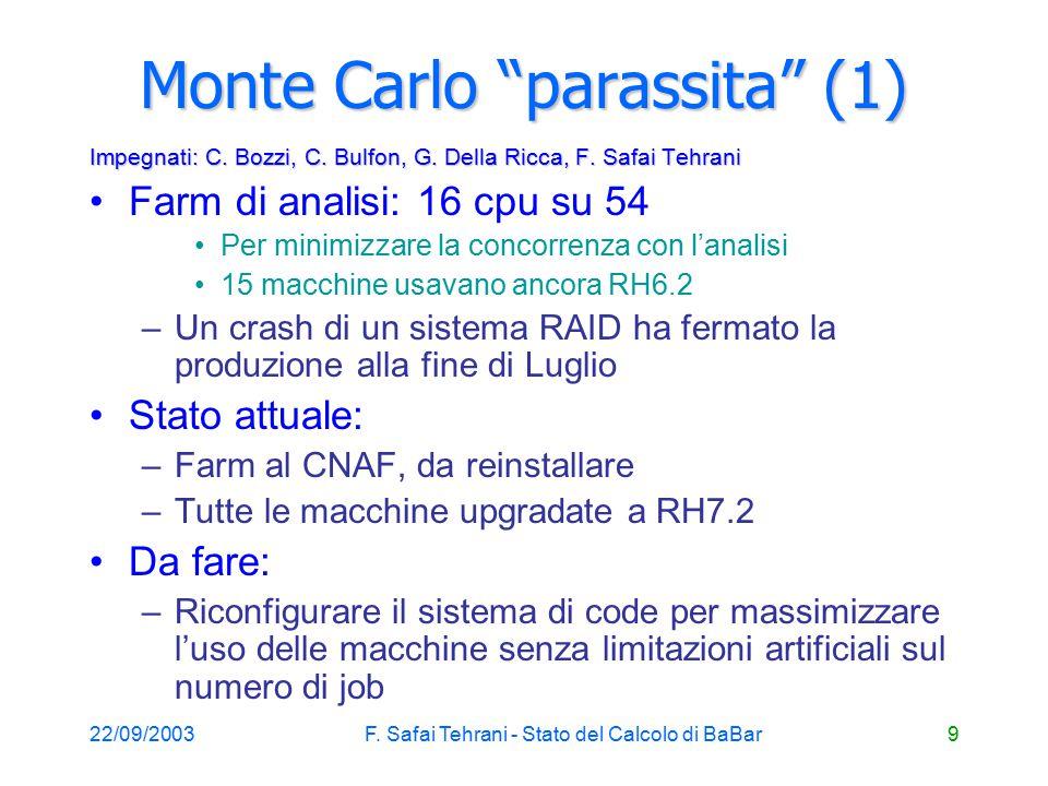 22/09/2003F. Safai Tehrani - Stato del Calcolo di BaBar9 Monte Carlo parassita (1) Impegnati: C.