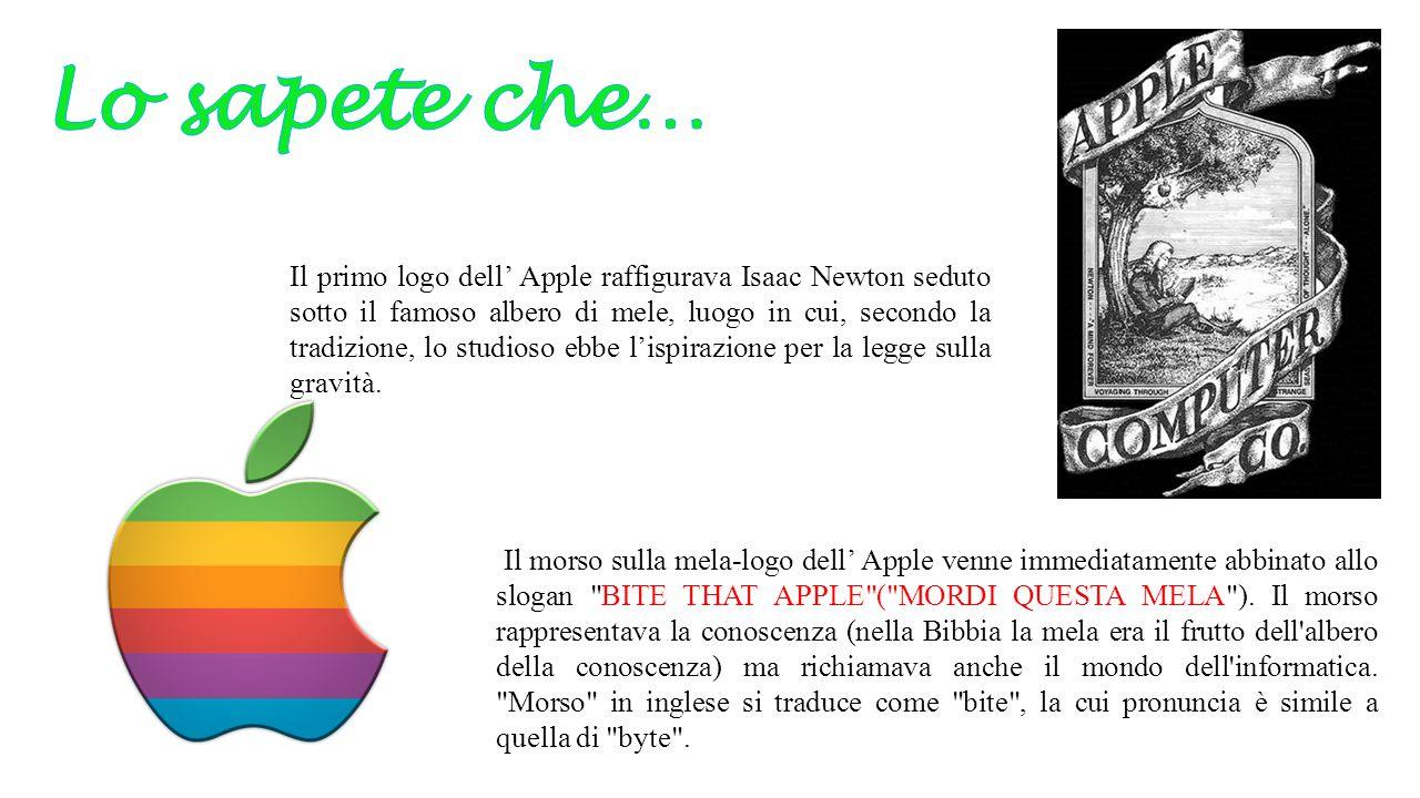 Il primo logo dell' Apple raffigurava Isaac Newton seduto sotto il famoso albero di mele, luogo in cui, secondo la tradizione, lo studioso ebbe l'ispi