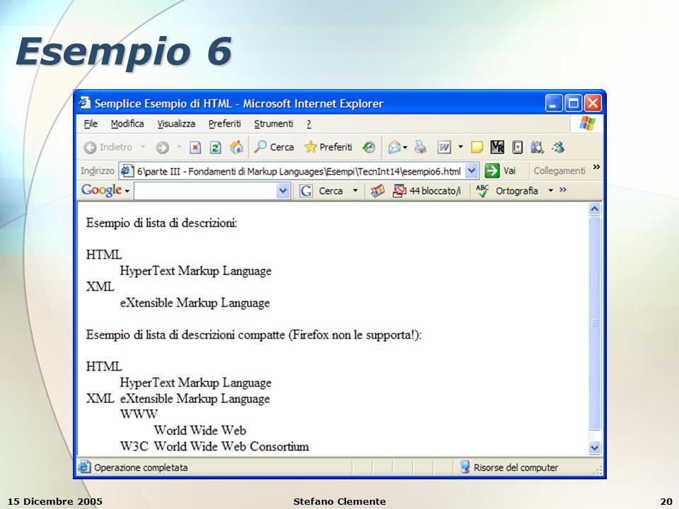 15 Dicembre 2005Stefano Clemente20 Esempio 6