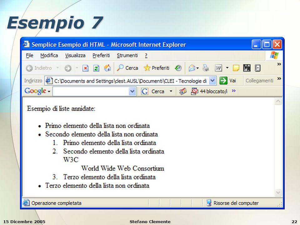 15 Dicembre 2005Stefano Clemente22 Esempio 7