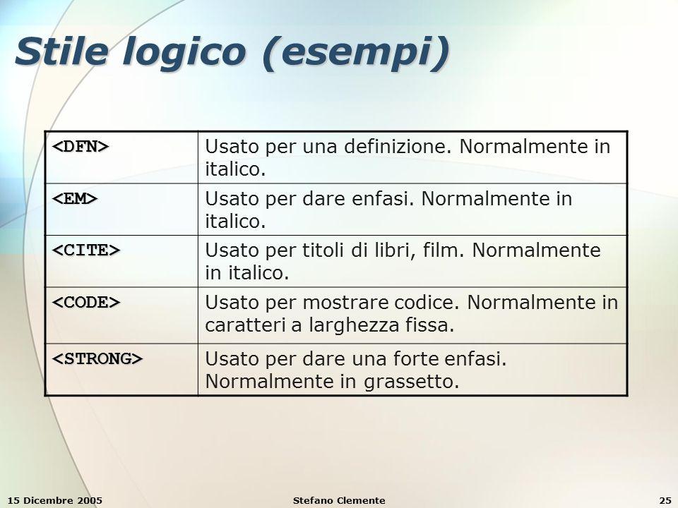 15 Dicembre 2005Stefano Clemente26 Esempio 9 <HTML> Semplice Esempio di HTML Semplice Esempio di HTML Esempio di formattazione di caratteri: Esempio di formattazione di caratteri: Esempio di definizione Esempio di definizione Esempio di enfasi Esempio di enfasi Esempio di citazione Esempio di citazione Esempio di codice Esempio di codice Esempio di forte enfasi Esempio di forte enfasi </HTML>