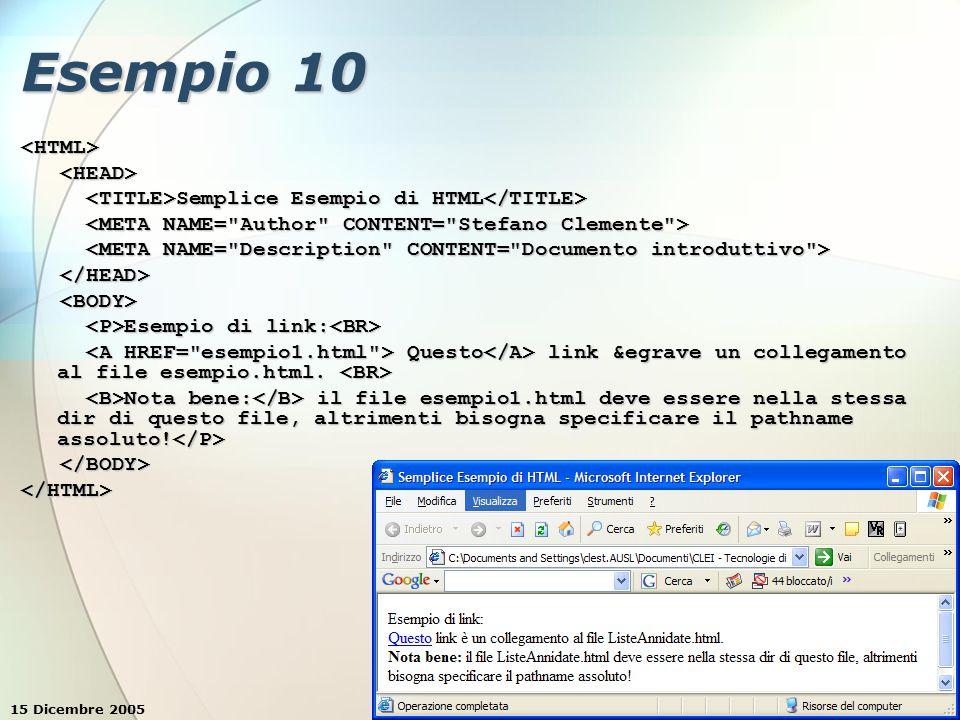 15 Dicembre 2005Stefano Clemente28 Esempio 10 <HTML> Semplice Esempio di HTML Semplice Esempio di HTML Esempio di link: Esempio di link: Questo link &egrave un collegamento al file esempio.html.