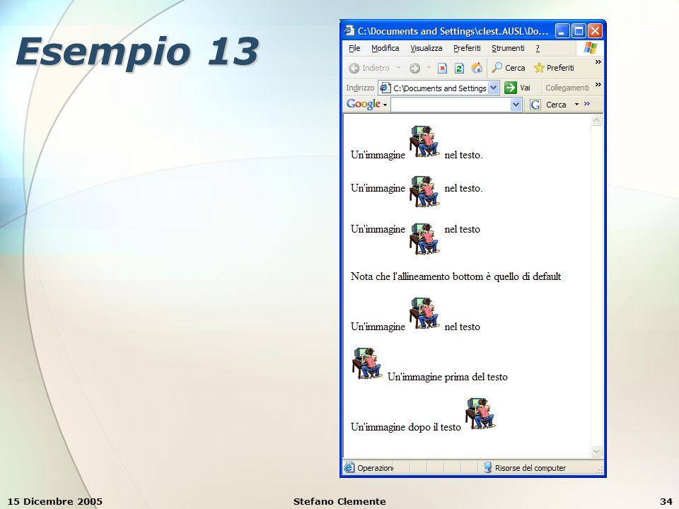 15 Dicembre 2005Stefano Clemente35 Esempio 14 <html><body> Cambiando i valori degli attributi width e height si possono ingrandire o rimpicciolere le immagini.