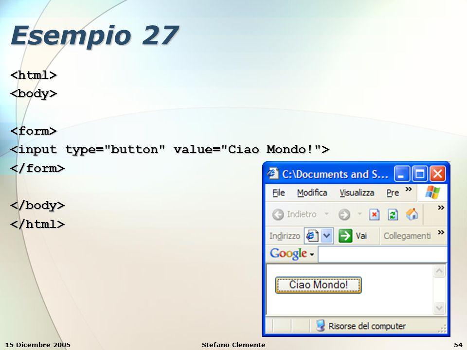 15 Dicembre 2005Stefano Clemente55 Esempio 28 <html><body><fieldset><legend> Informazioni personali: </legend><form> Altezza Altezza Peso Peso </form></fieldset></body></html>