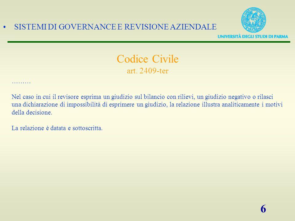 SISTEMI DI GOVERNANCE E REVISIONE AZIENDALE 6 Codice Civile art.