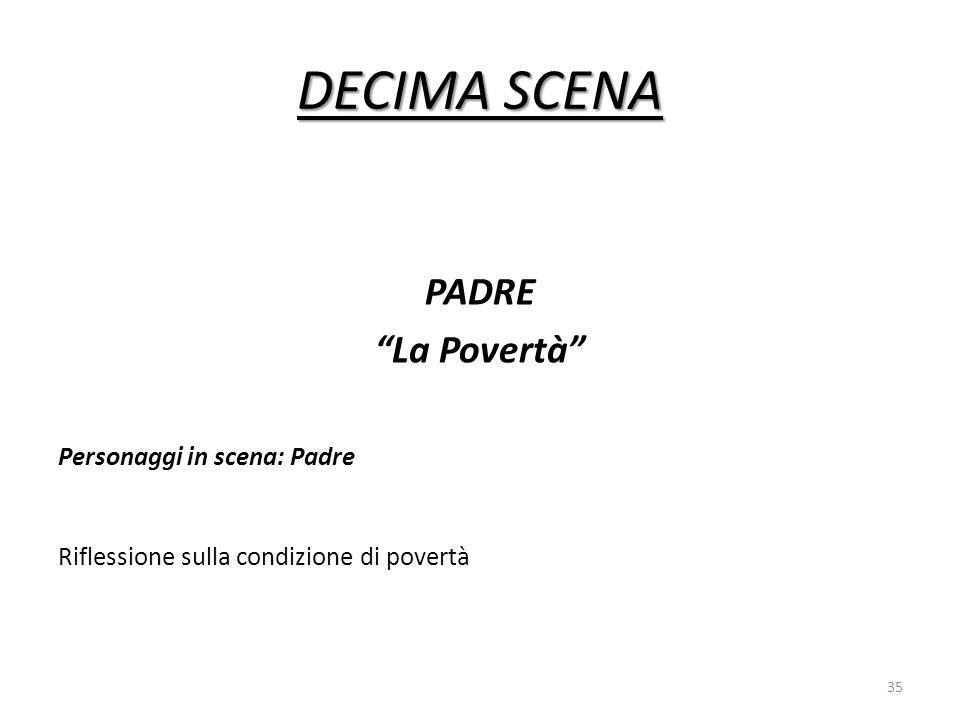 DECIMA SCENA PADRE La Povertà Personaggi in scena: Padre Riflessione sulla condizione di povertà 35