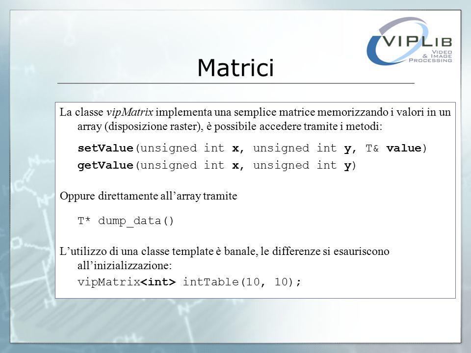 Matrici La classe vipMatrix implementa una semplice matrice memorizzando i valori in un array (disposizione raster), è possibile accedere tramite i metodi: setValue(unsigned int x, unsigned int y, T& value) getValue(unsigned int x, unsigned int y) Oppure direttamente all'array tramite T* dump_data() L'utilizzo di una classe template è banale, le differenze si esauriscono all'inizializzazione: vipMatrix intTable(10, 10);