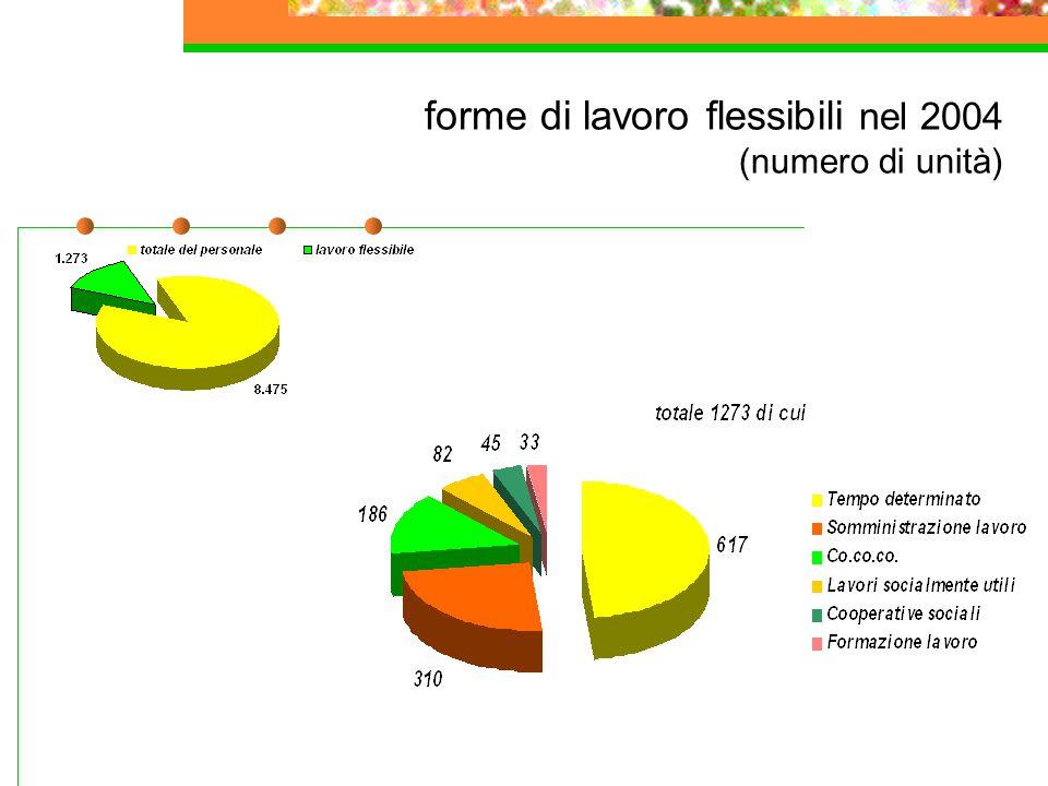 forme di lavoro flessibili nel 2004 (numero di unità)