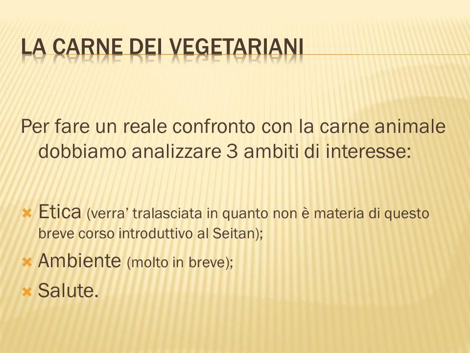 Per fare un reale confronto con la carne animale dobbiamo analizzare 3 ambiti di interesse:  Etica (verra' tralasciata in quanto non è materia di que
